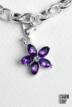 Purple Crystal Flower Dangle Charm