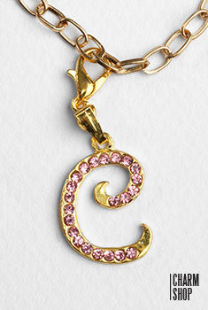 Gold Pink Italic Initial C Dangle Charm