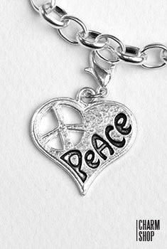 Heart Peace Dangle Charm