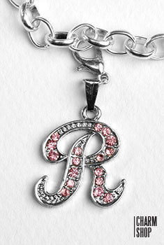 Silver Pink Italic Initial R Dangle Charm
