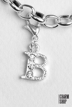 Silver Clear Initial B Dangle Charm