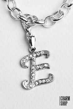 Silver Clear Italic Initial E Dangle Charm