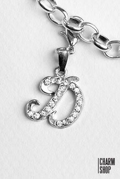 Silver Clear Italic Initial D Dangle Charm