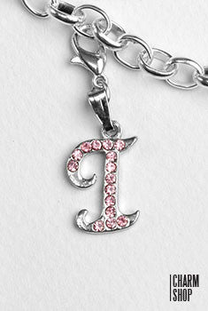 Silver Pink Italic Initial I Dangle Charm
