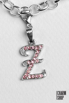 Silver Pink Italic Initial Z Dangle Charm