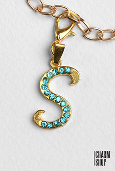 Gold Blue Italic Initial S Dangle Charm