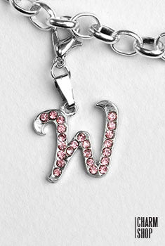 Silver Pink Italic Initial W Dangle Charm