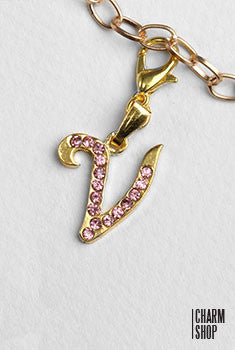 Gold Pink Italic Initial V Dangle Charm