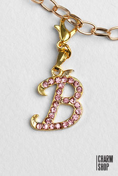 Gold Pink Italic Initial B Dangle Charm