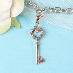 Gold Key to My Heart Dangle Charm