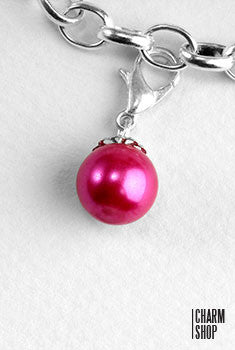 Dark Pink Pearl Dangle Charm