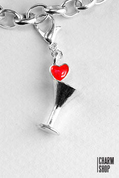 Love Martini Glass Dangle Charm