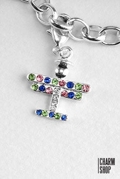 Multi Stone Airplane Dangle Charm