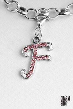Silver Pink Initial F Dangle Charm