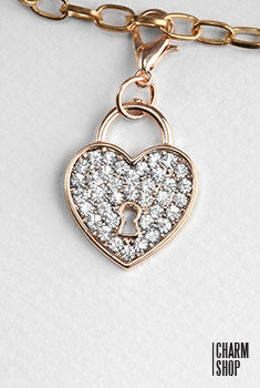 Gold Rhinestone Heart Lock