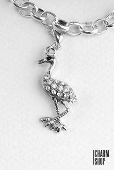 Silver Rhinestone Flamingo Dangle Charm