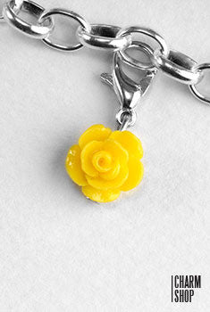 Yellow Rose Dangle Charm