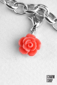 Coral Rose Dangle Charm