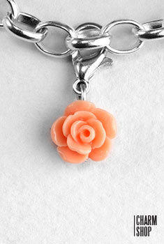 Peach Rose Dangle Charm