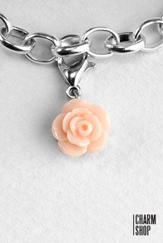 Light Peach Rose Dangle Charm