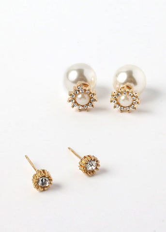 2 Pair Pearl Front & Back Stud Set