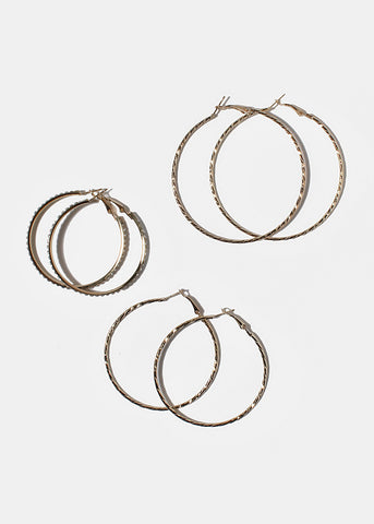 3 Multi-Design Hoop Earrings