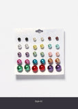 15 Pair Colored Pearl Stud Set
