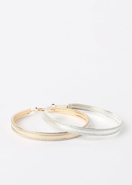Glitter Rimmed Hoop Earrings