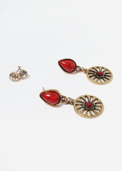 2 Pair Flower Wheel Earring Set