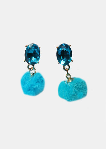 Gemstone Fuzzy Pom-Pom Earrings