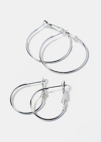 6 Pair Smooth Hoop Earrings Set