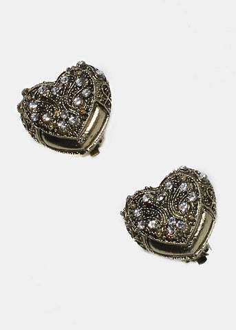 Vintage Heart Clip-On Earrings