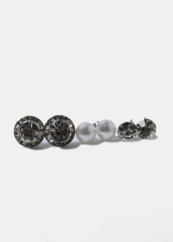 6 Pair Rhinestone, Ball & Pearl Stud Set