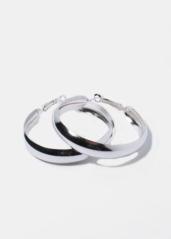 3 Pair Smooth Metal Hoop Earrings