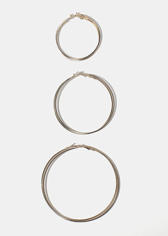 3 Pair Gold Ridged Hoop Earrings