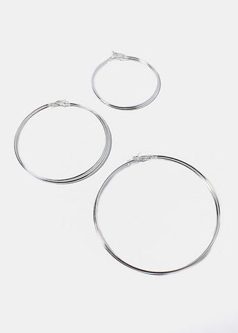 3 Pair Large Hoop Earrings