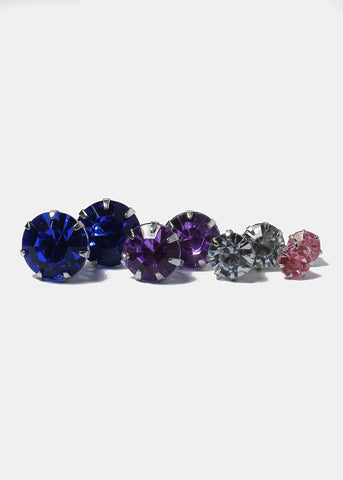12 Pair Multi-Color Rhinestone Stud Set