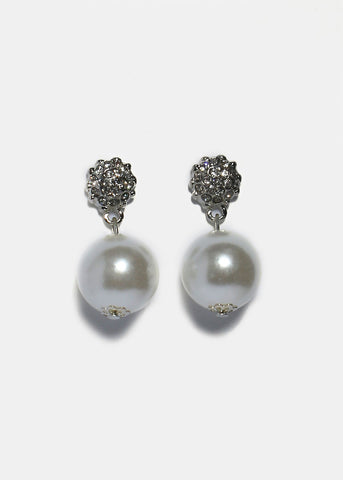 Rhinestone Pave Pearl Earrings