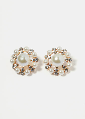 Round Pearl & Rhinestone Cluster Earrings