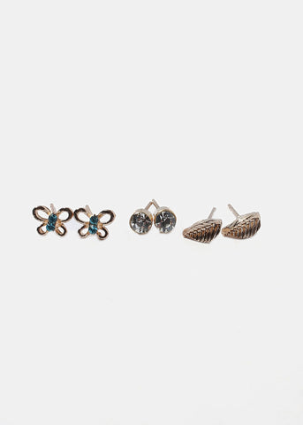 6 Pair Butterfly & Leaf Stud Set