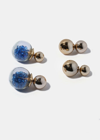 2 Pair Double-Sided Bead Ball Earrings