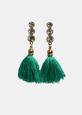 Gemstone Tassel Drop Earrings