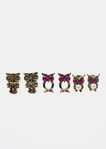 6 Pair Owl & Feather Stud Set