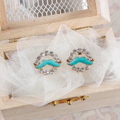 Circle Rhinestone Mustache Earrings