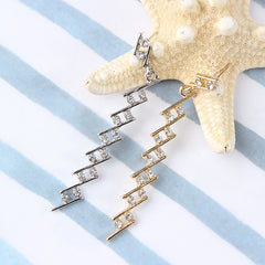 Staggered Stair Step Rhinestone Earrings