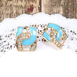 Enamel and Rhinestone Chain Link Gold Earrings