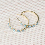 Gold Hoop Earrings with Colored Accent Rhinestones