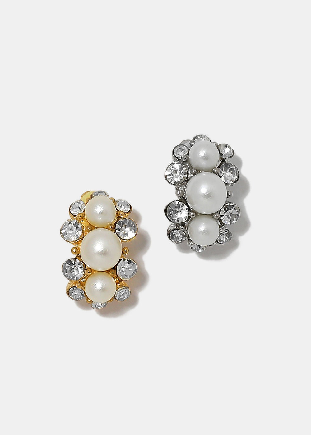 Elegant Pearl and Rhinestone Clip On Earrings