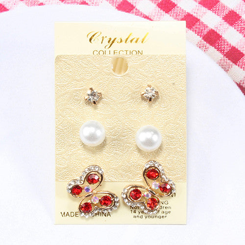 Dazzling Butterfly Earrings (3 Pair)