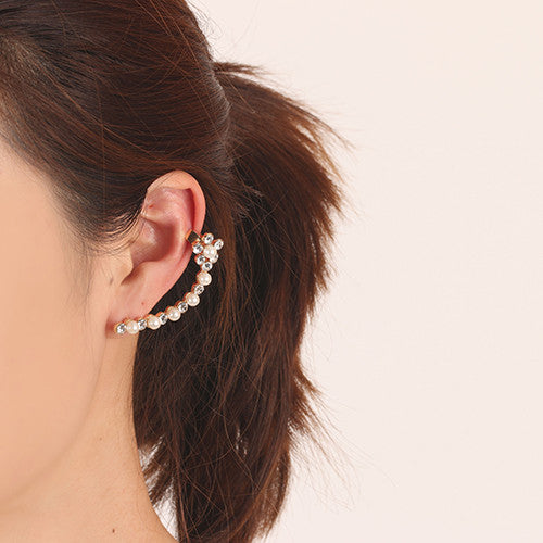Flower Pearl & Crystal Ear Cuff